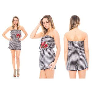 Everly Gingham Strapless Romper with Floral Patch